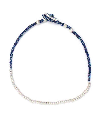 small silver beads bracelet / indigo white