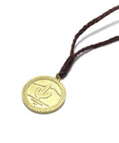 snake coin cord necklace / brass