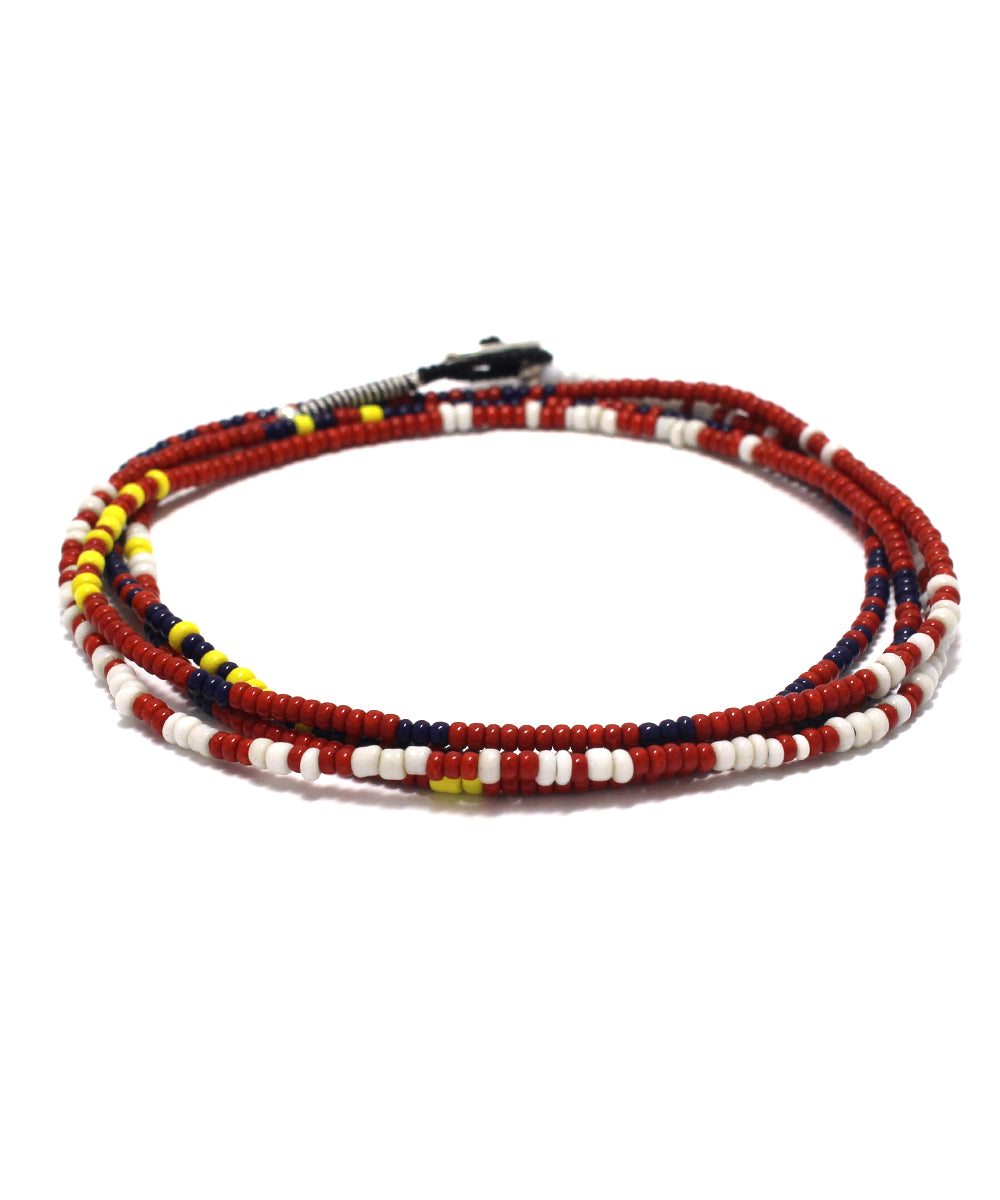 small beads necklace / red navy
