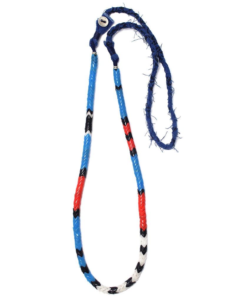 snake beads necklace / blue