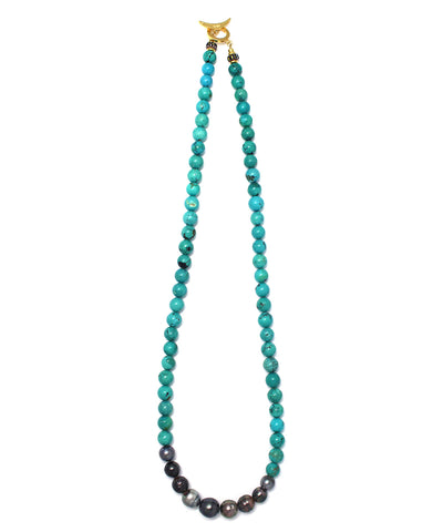 tahitian pearl / turquoise necklace