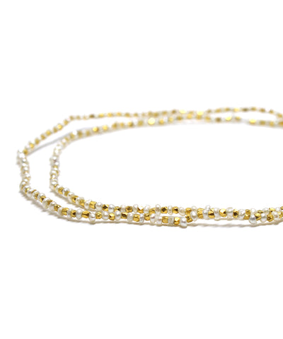 karen silver pearl necklace / gold