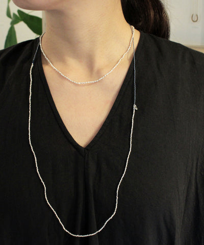 karen silver / indigo cord necklace