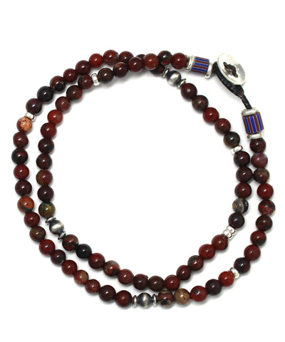 4mm double wrap bracelet / poppy jasper