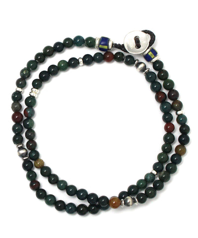 4mm double wrap bracelet / bloodstone