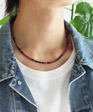 Heishi necklace  / coral jet