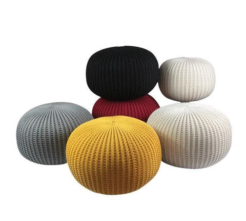 Knitted Pouffe Footstool Bean Filled 100% Cotton for Living Room Children or the Elderly