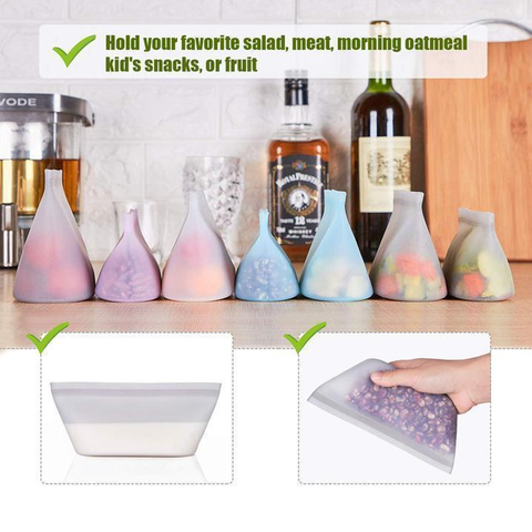 Reusable Silicone Food Bag Zip Lock Leak-proof Containers Stand Up BPA Free Food Storage Bag for Fruits Vegetables Snacks