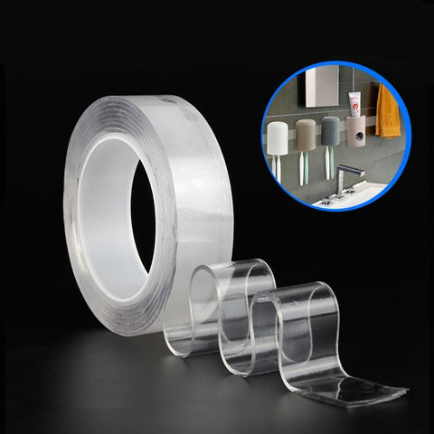 Image of Nano Magic Tape Reusable Nano Adhesive Tape Clear Strong Double Sided Tape Removable Traceless Washable Nano Mounting Tape