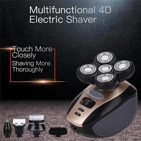 Image of Electric Shaver Grooming Kit Five-Headed Rotary Shavers Nose Hair Beard Trimmer Clippers Cordless USB Charging Rechargeable
