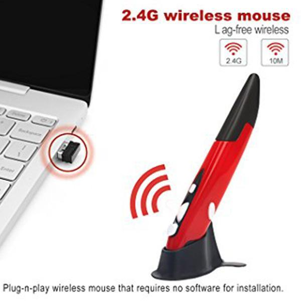 Wireless Pen Mouse USB Wireless Optical Pen Mouse Adjustable Handwriting Mini Mice for PC Laptop Notebook Computer Mac