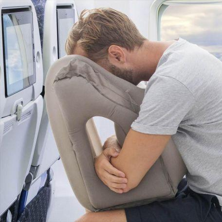 Comfortable Ergonomic and Portable Flight Pillow for Neck and Head Support for Airplanes Cars Buses Trains Office Napping Camping