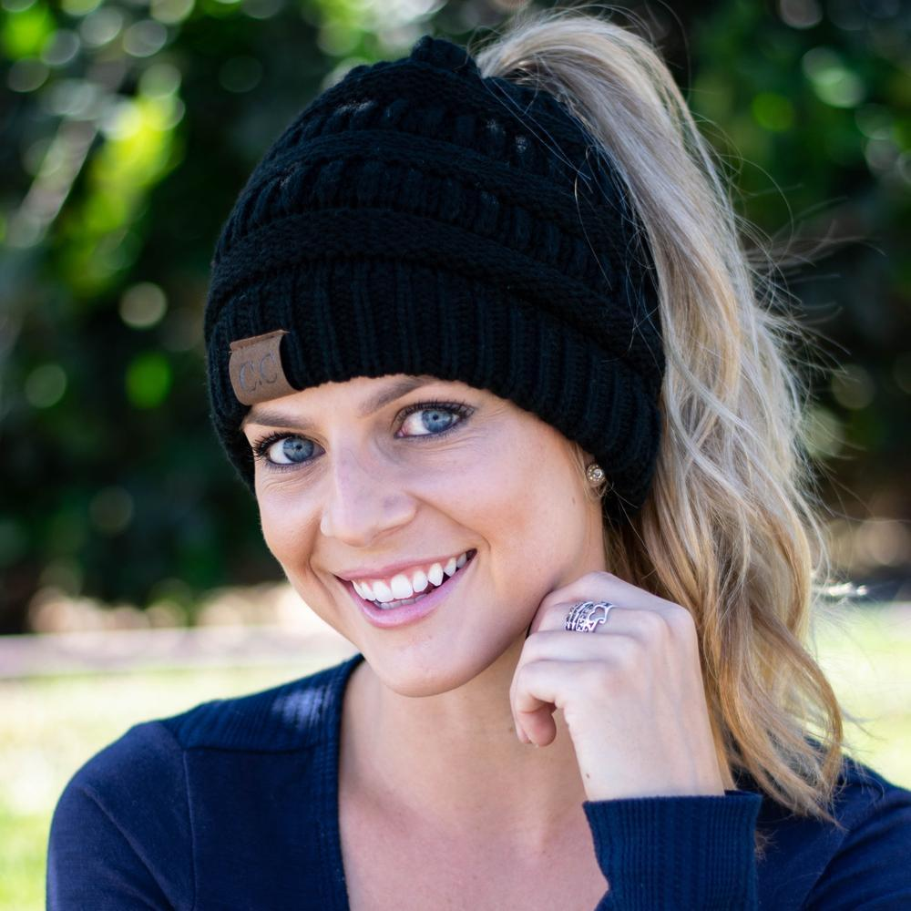 Beanie Tail Soft Stretch Cable Knit Messy High Bun Ponytail Beanie Hat