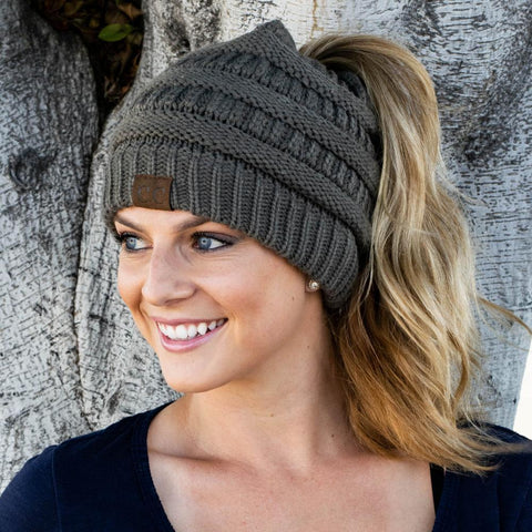 Image of Beanie Tail Soft Stretch Cable Knit Messy High Bun Ponytail Beanie Hat