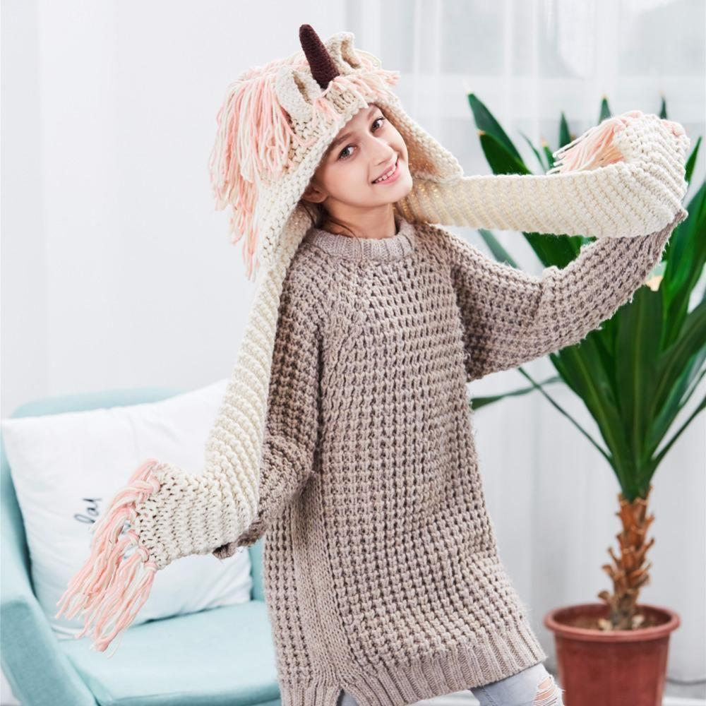 Crochet Unicorn Hat with Scarf Knitted Cartoon Unicorn Hooded Scarf Winter Hat Scarf Pocket Hooded Knitting Beanies
