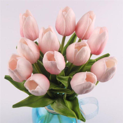 Image of Tulip Flowers Bouquet 12 PCS Artificial Tulip Flower Perfect Decoration for Wedding Party Home Garden Office