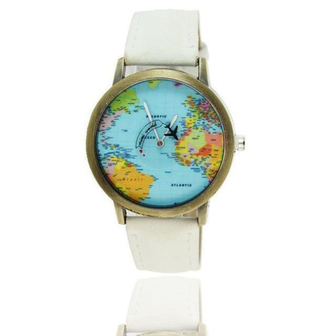 Image of Mini World Map Electronic Wristwatch Round Dial Plane Wristwatch Fabric Denim Band Watch for Fashion Traveler