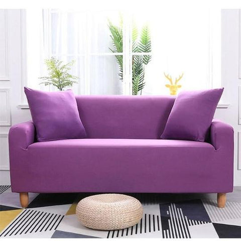 Image of Couch Covers Polyester Fabric Plain Elastic Furniture Protector Dust-Proof Covers for Living Room