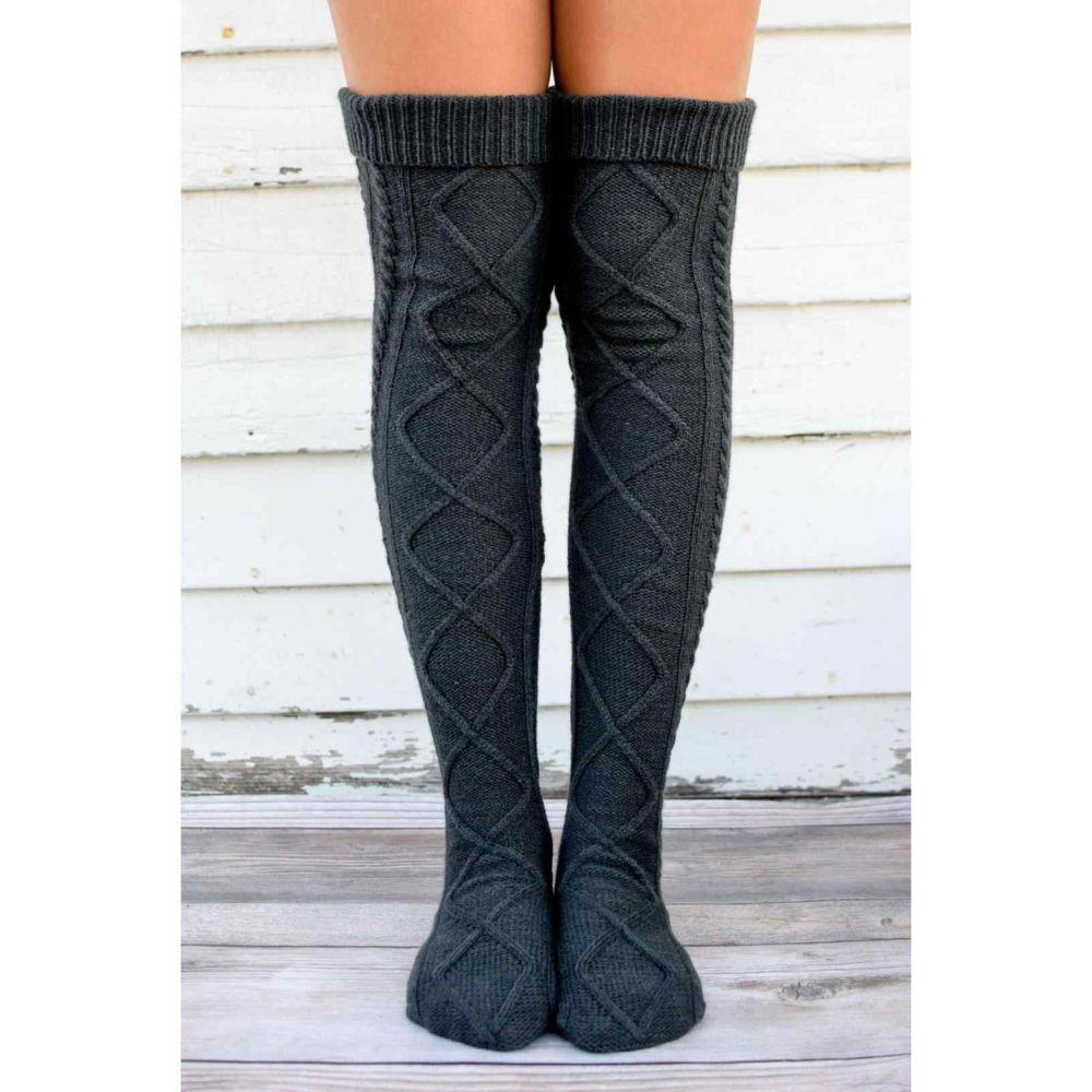 Women Winter Knit Socks Thermal Boot Long Socks Thick Warm Floor Socks Thigh Boots Stockings Over the Knee High Socks Leg Warmer