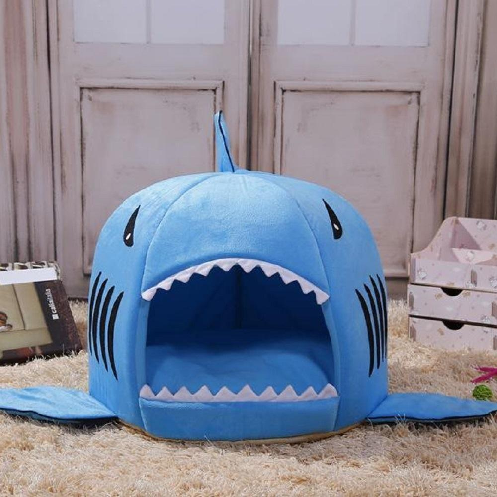 Pet Bed Soft Cushion Shark Bed Removable Non-Slip Warm Washable Removable Thick Plush Mat Indoor Sleeping Bag For Pet Cat Dog