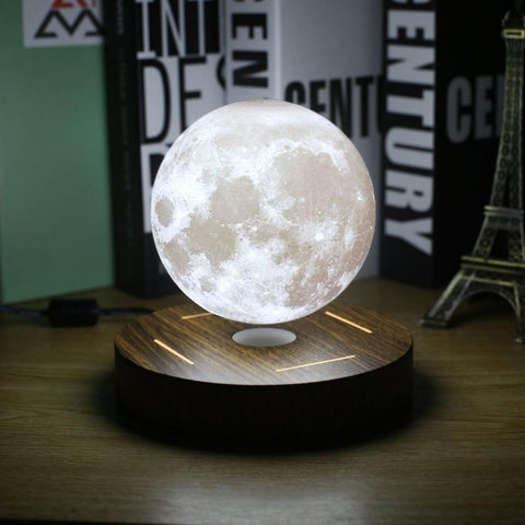 Image of Levitating Moon Lamp Floating and Spinning in Air Freely with 3D Printing LED Moon Lamp for Unique Gifts Room Decor Night Light