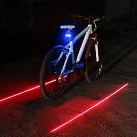 Image of Portable Mountain Bicycle Bike Cycle Rear Tail Warning Lamp 3 LED Light 2 Laser Bulbs Safety & Easy Mount Rear Light