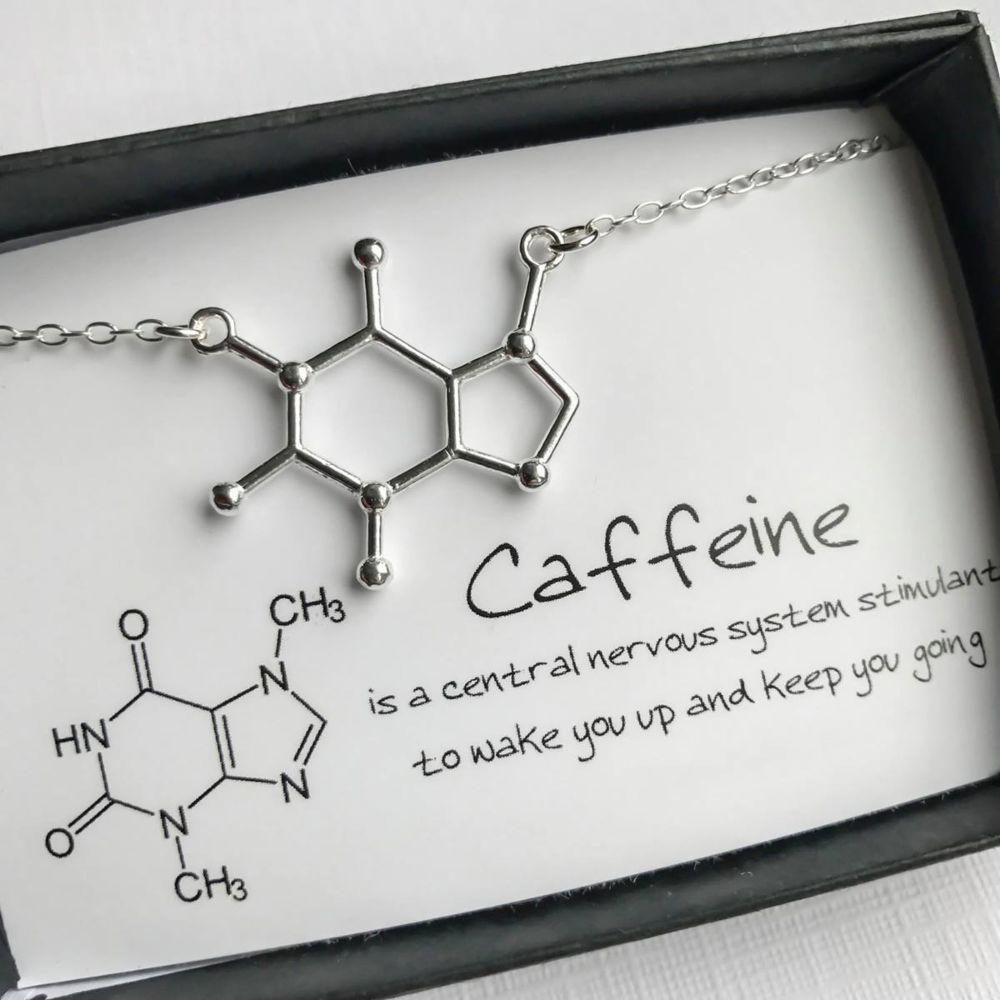 Molecule-Shaped Pendant Necklace Caffeine Molecule Necklace Chemistry Pendant Coffee Themed Jewelry Gift