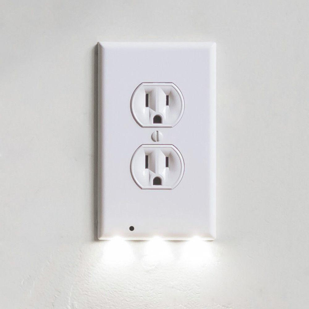 GuideLight Outlet Coverplate with LED Night Lights Electrical Outlet Wall Plate Automatic On/Off Sensor