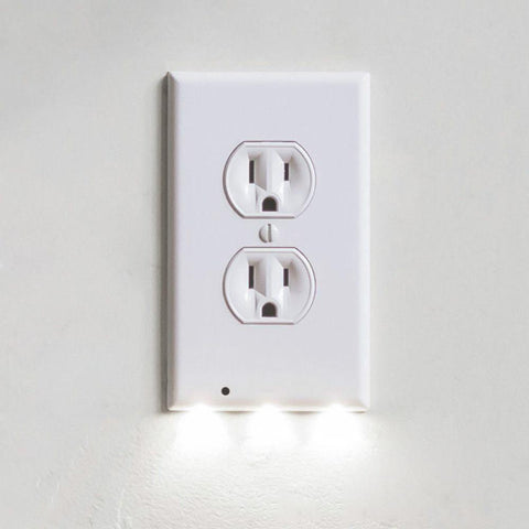 Image of GuideLight Outlet Coverplate with LED Night Lights Electrical Outlet Wall Plate Automatic On/Off Sensor