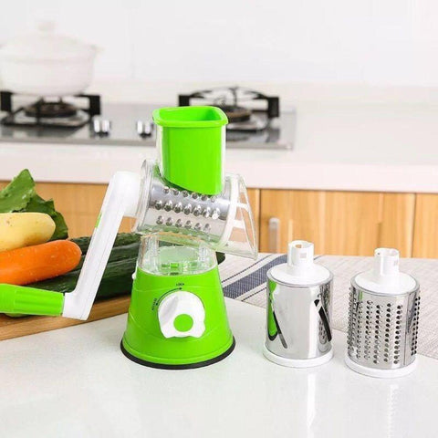 Image of Vegetable and Fruit Slicer Cheese Grater with 3 Round Stainless Steel Blades Kitchen Tools for Grinding Cutting Silk Slicing