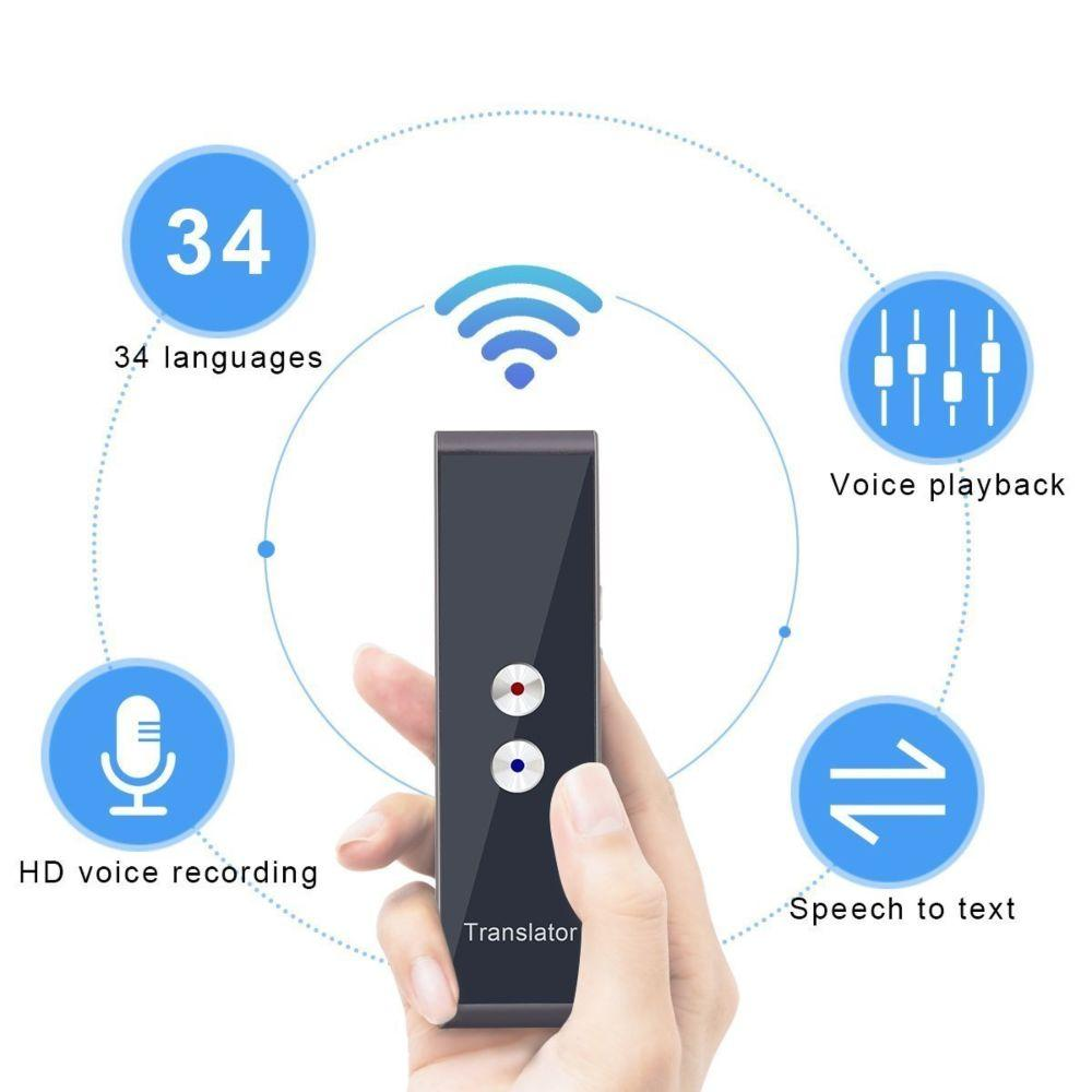 Portable Real-time Multi-Language Voice Translator Device Bluetooth Smart Pocket Interpreter Support 30 Languages for Travel Meeting