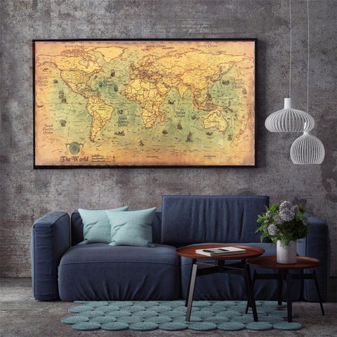 Image of World Map Poster Vintage Nautical Ocean Sea Sticker Painting Home Decoration Wall Art For Cafe Bars Shops Office Rooms Garages
