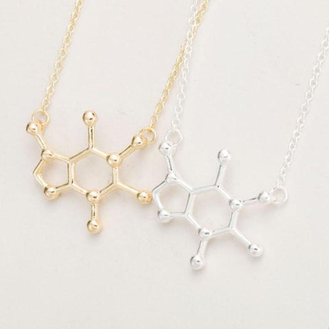 Image of Molecule-Shaped Pendant Necklace Caffeine Molecule Necklace Chemistry Pendant Coffee Themed Jewelry Gift