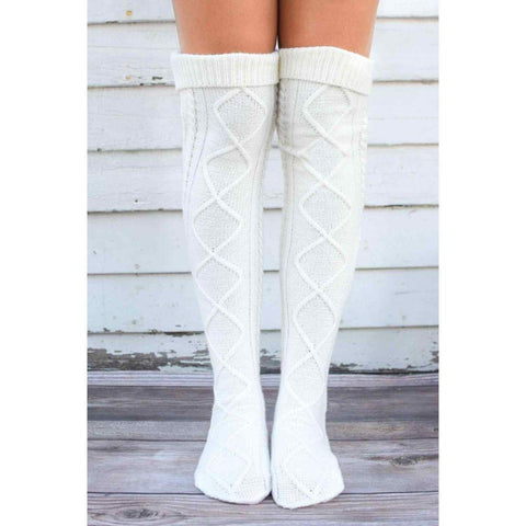 Image of Women Winter Knit Socks Thermal Boot Long Socks Thick Warm Floor Socks Thigh Boots Stockings Over the Knee High Socks Leg Warmer