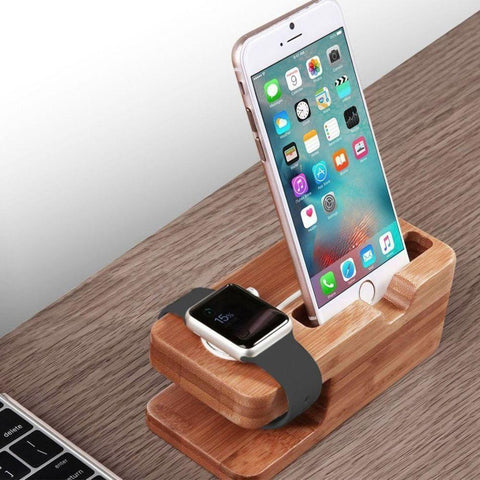 Image of Apple Watch iPhone's Stand Bamboo Wood Charging Dock Charge Station Stock Cradle Holder Compatible
