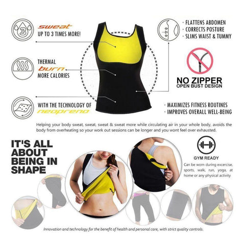 Image of Women's Body Shaper Hot Sweat Waist Trainer Tank Top Slimming Vest Tummy Fat Burner Neoprene Shapewear for Weight Loss No Zipper