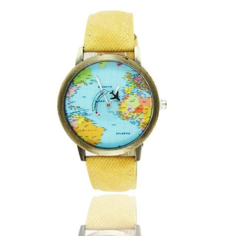 Mini World Map Electronic Wristwatch Round Dial Plane Wristwatch Fabric Denim Band Watch for Fashion Traveler