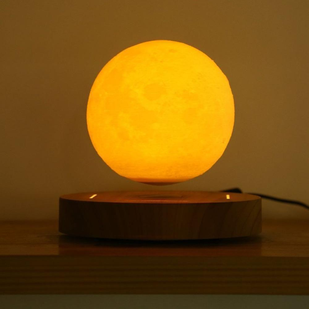 Levitating Moon Lamp Floating and Spinning in Air Freely with 3D Printing LED Moon Lamp for Unique Gifts Room Decor Night Light