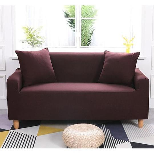 Couch Covers Polyester Fabric Plain Elastic Furniture Protector Dust-Proof Covers for Living Room