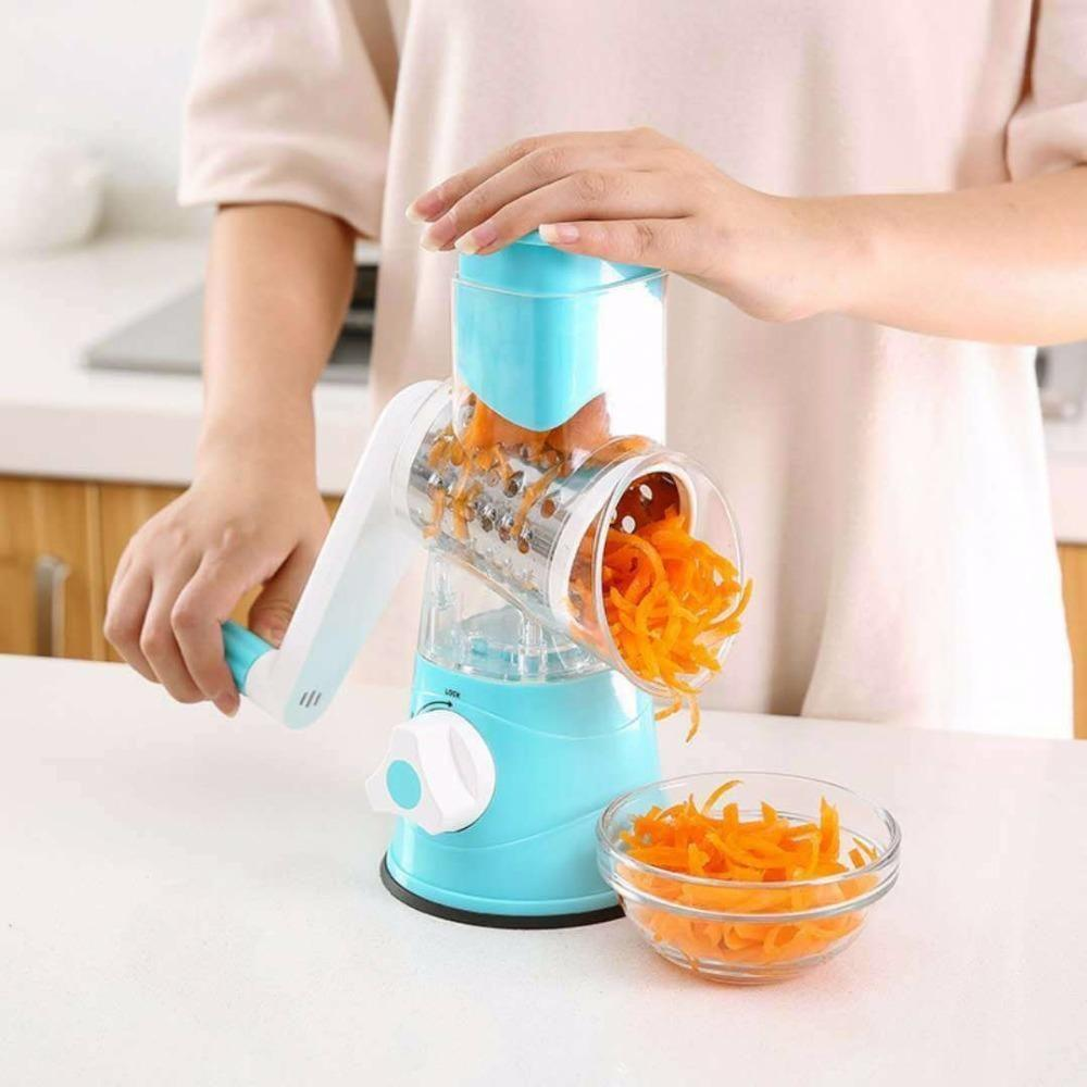 Vegetable and Fruit Slicer Cheese Grater with 3 Round Stainless Steel Blades Kitchen Tools for Grinding Cutting Silk Slicing