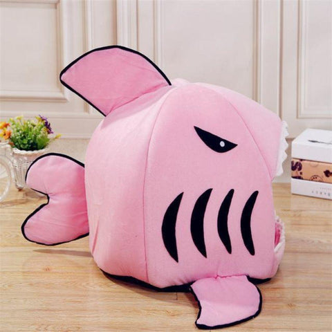 Image of Pet Bed Soft Cushion Shark Bed Removable Non-Slip Warm Washable Removable Thick Plush Mat Indoor Sleeping Bag For Pet Cat Dog