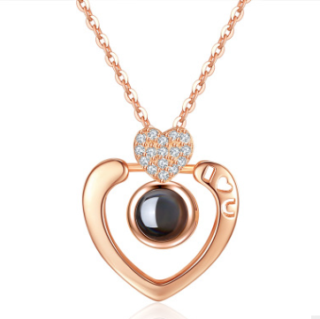 Plated 925 sterling silver rose gold pendant 100 languages I love you heart-shaped diamond ornaments