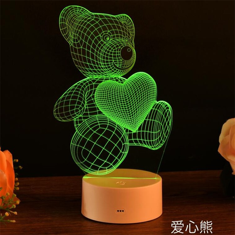 3d night light remote control light