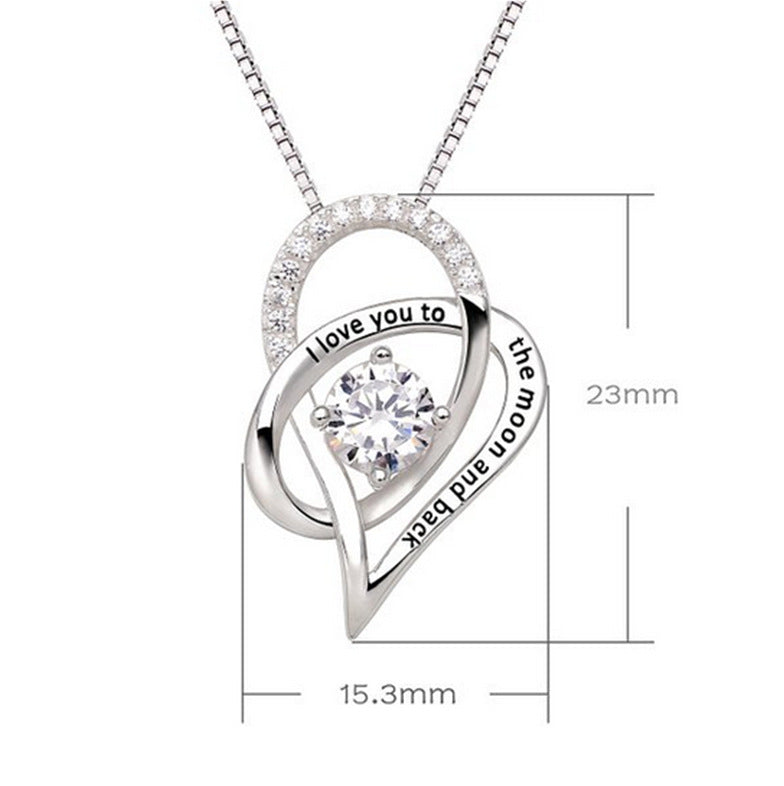 I Love You To The Moon and Back Heart-shape Pendant Necklace