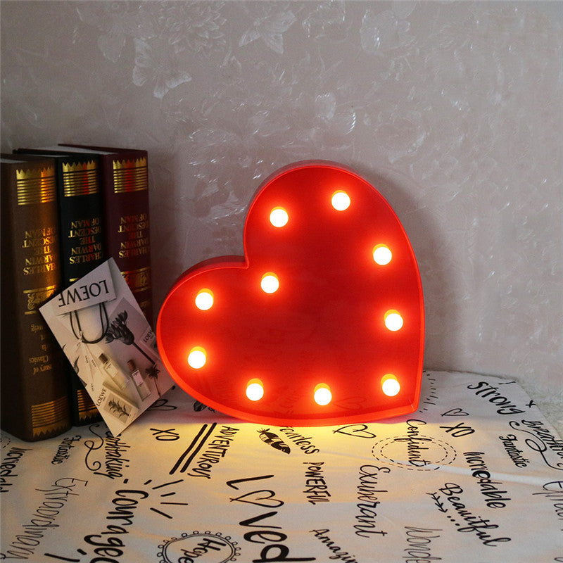 Romantic Indoor Decorative Nights Lamps 3D Love Heart Marquee Letter