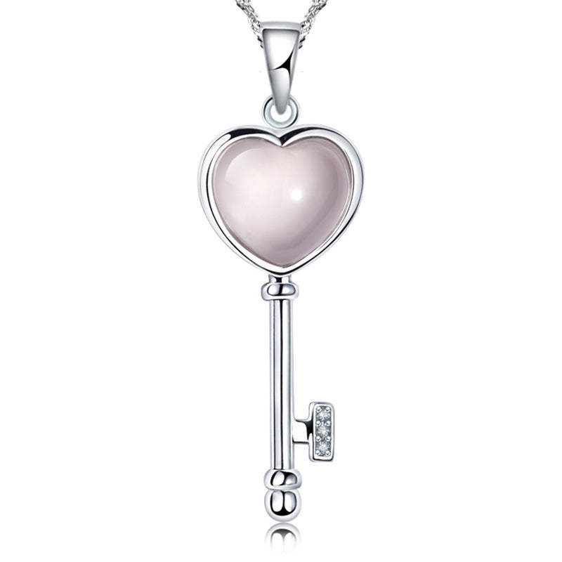 new arrival fashion love heart key pink opal gem stone 925 sterling silver ladies`pendant necklaces jewelry gift Christmas