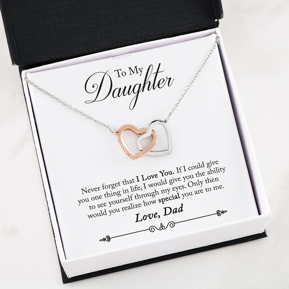Dad To Daughter - Never - Interlocking Hearts Necklace