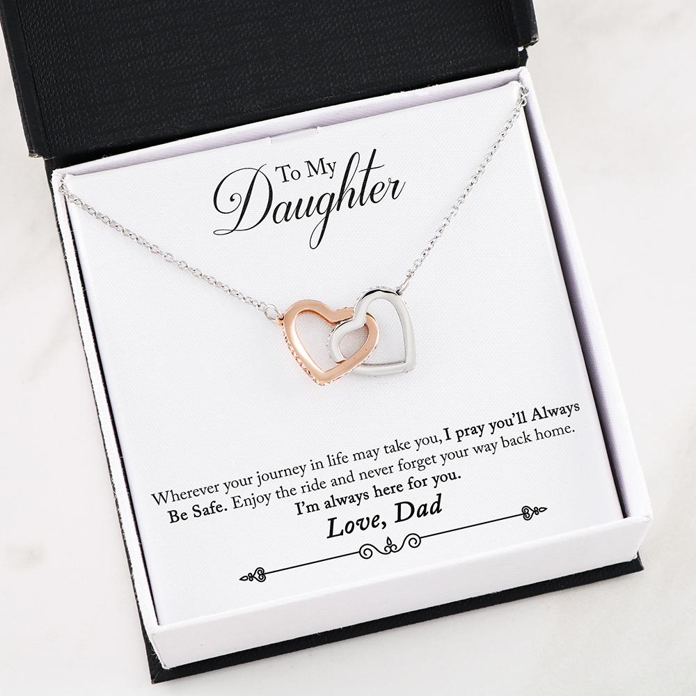 Dad To Daughter - Safe - Interlocking Hearts Necklace