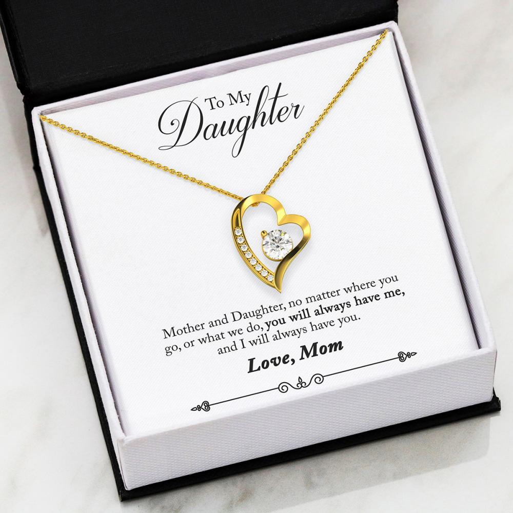 Mom To Daughter - Always - Forever Love Heart Necklace