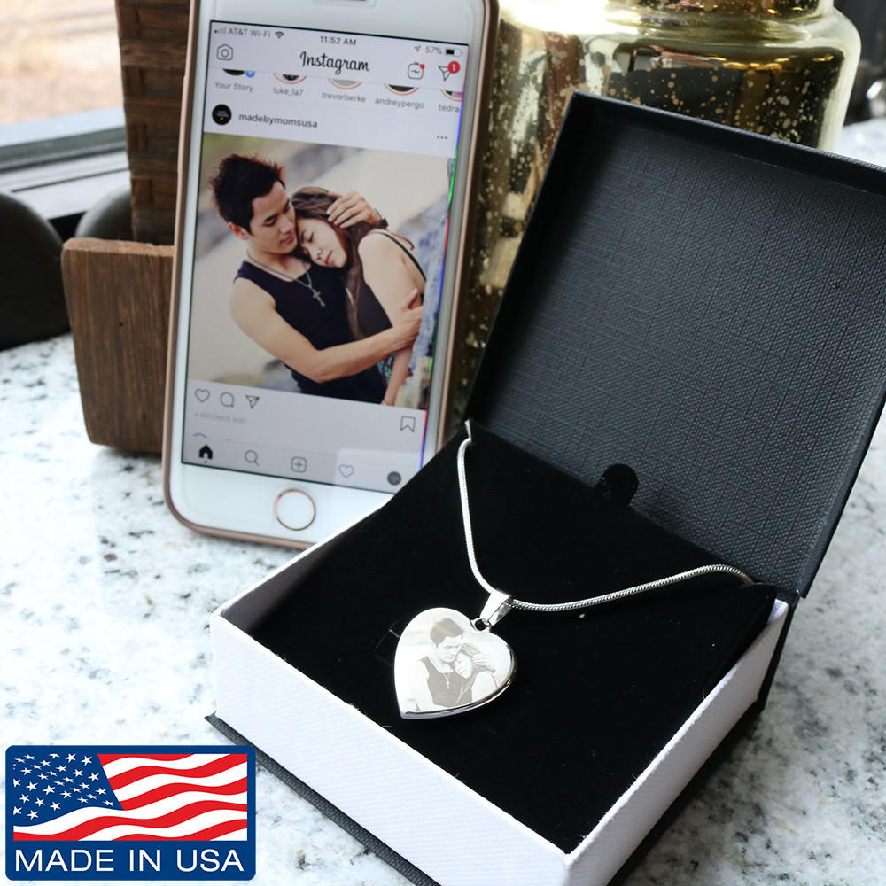 Photo Etched Heart - Adjustable Necklace